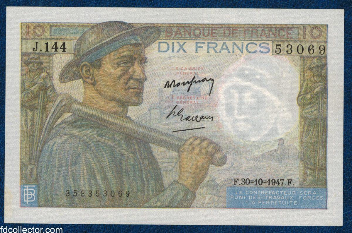 10 FRANCS MINEUR 30-10-1947