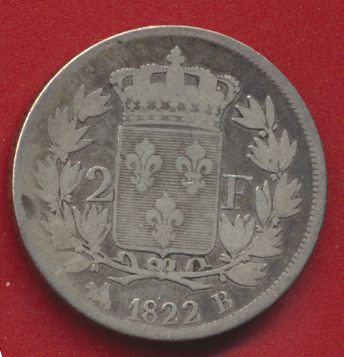 2 FRANCS 1822 B LOUIS XVIII