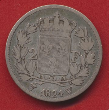 2 FRANCS 1824 W LOUIS XVIII