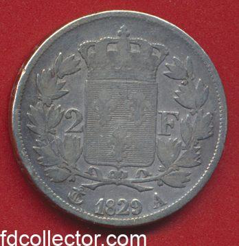 2 FRANCS 1829 A CHARLES X