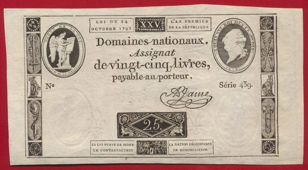 ASSIGNAT 25 LIVRES 24 OCTOBRE 1792 LOUIS XVI