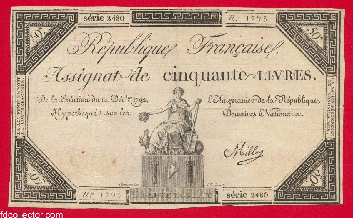 Assignat de 50 Livres 14 décembre 1792 - signé Mille