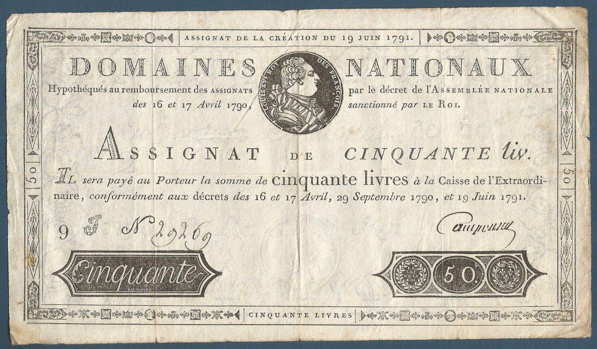ASSIGNAT DE CINQUANTE LIVRES 19 JUIN 1791 - LOUIS XVI ROI DES FRANÇAIS