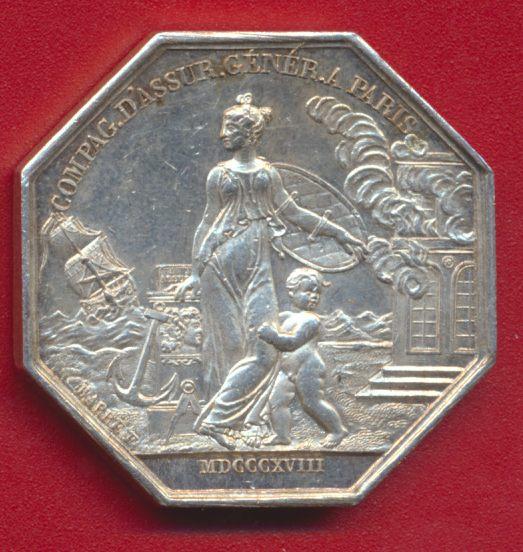 JETON ASSURANCE LOUIS XVIII COMPAGNIE GENERALE PARIS 1818