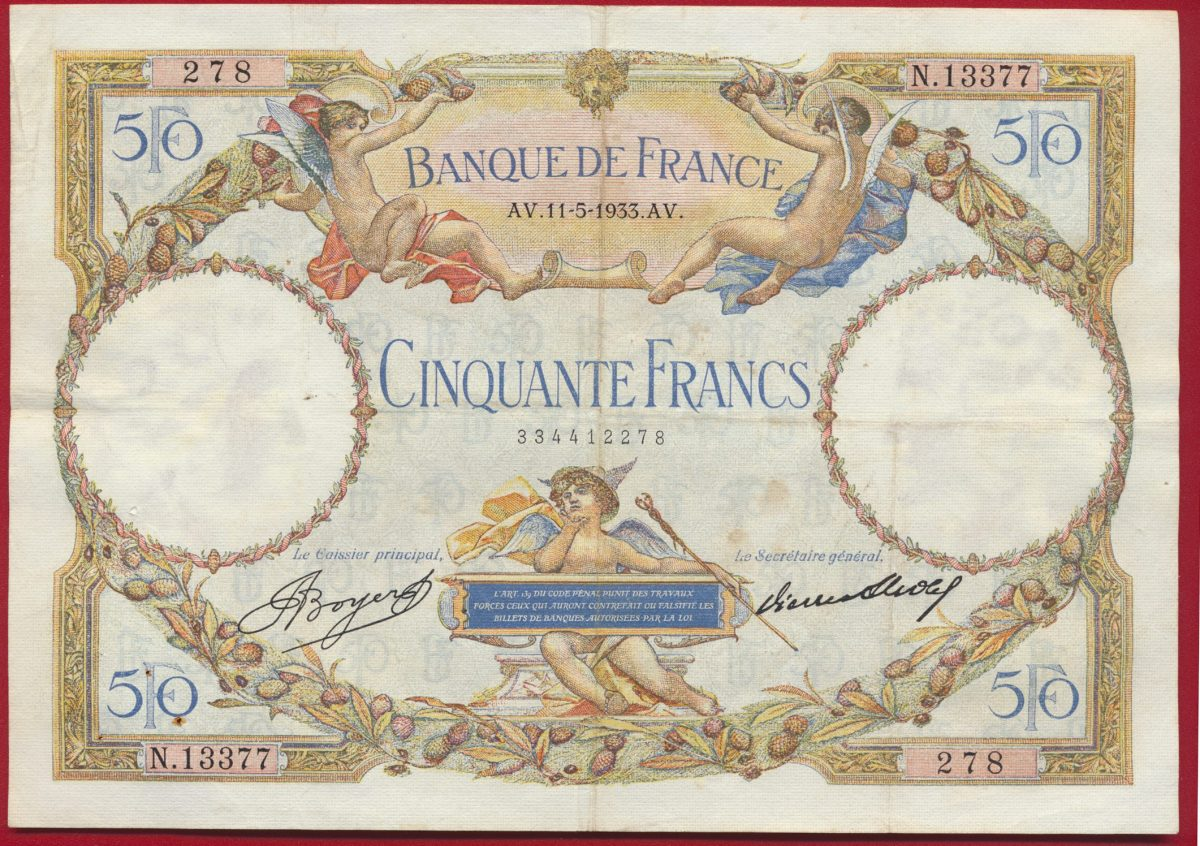 BILLET BANQUE DE FRANCE 50 FRANCS MERSON - 11-5-1933