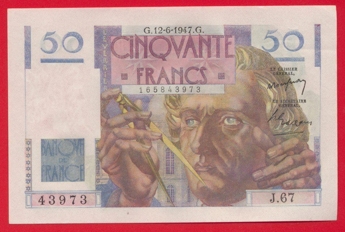 BILLET 50 F LE VERRIER 12-6-1947 - NEUF