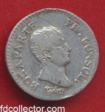 Bonparte Premier Consul Napoleon 1 er quart de franc an 12 A Paris avers