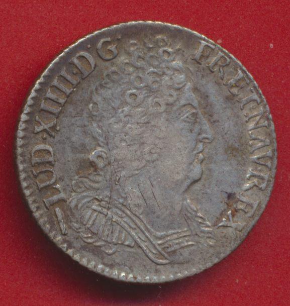 LOUIS XIV - DIXIEME ECU AUX TROIS COURONNES 1715 W LILLE