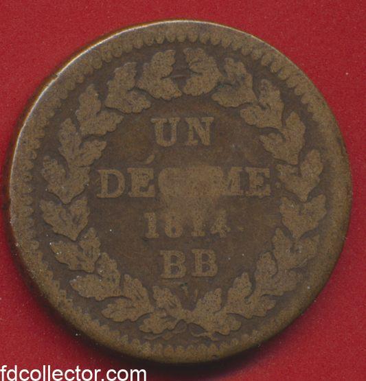 Un decime Napoleon 1 er blocus siege de strasbourg 1814 bb revers