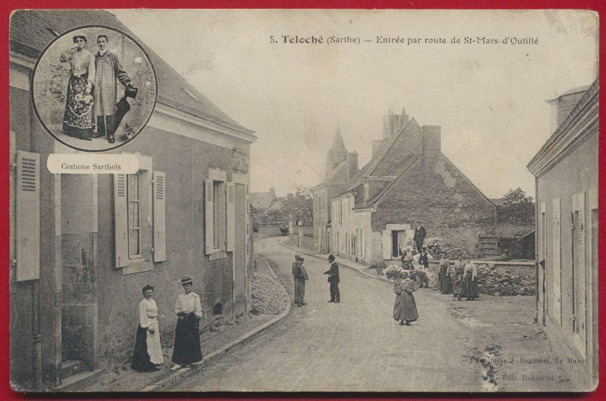 CPA Teloché (Sarthe) entrée par route de st mars d 'outillé