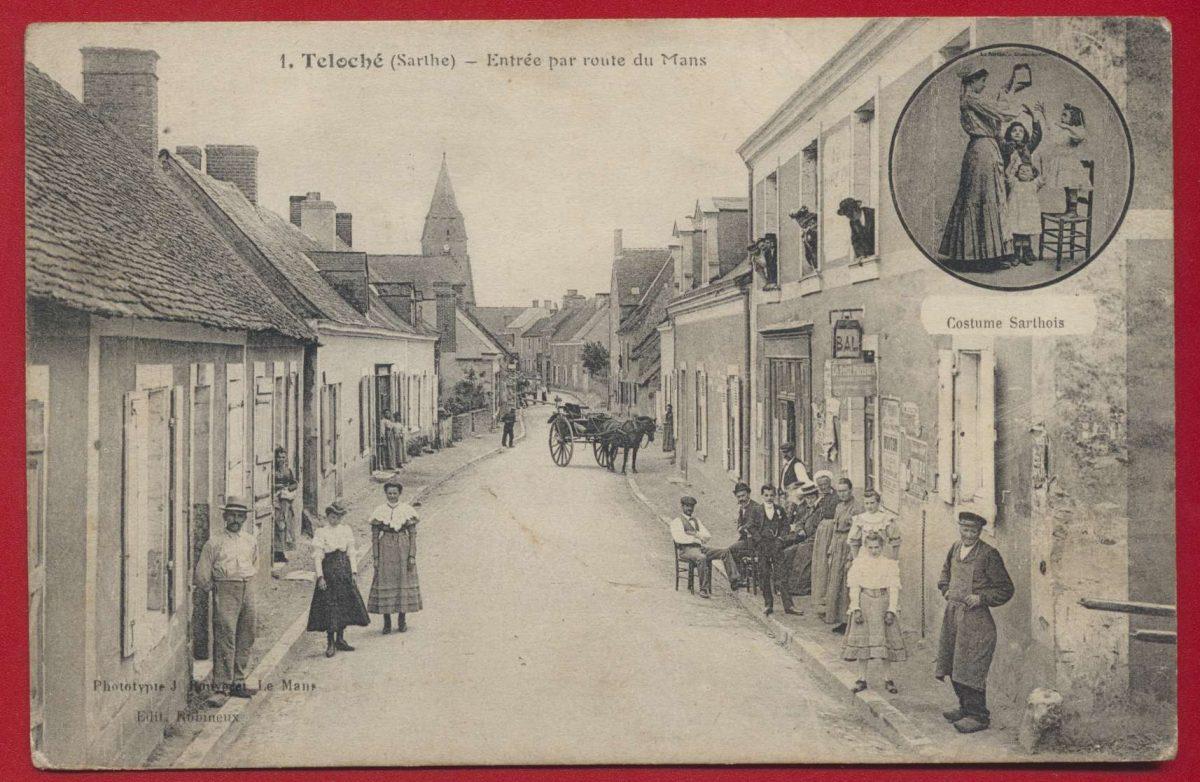 CPA Teloché (Sarthe) entrée par route du mans