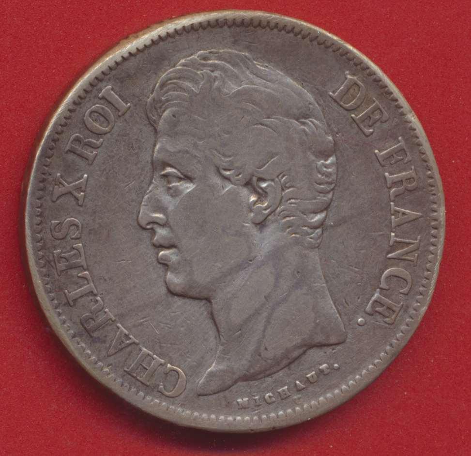 Charles X 5 francs 1830 A tranche en relief