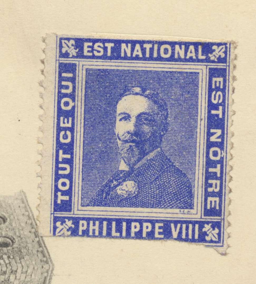 Timbre propagande Philippe VIII tout ce qui est national est notre Philippe d'Orleans