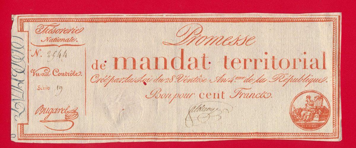 promesse de mandat territorial bon pour cent francs serie 19