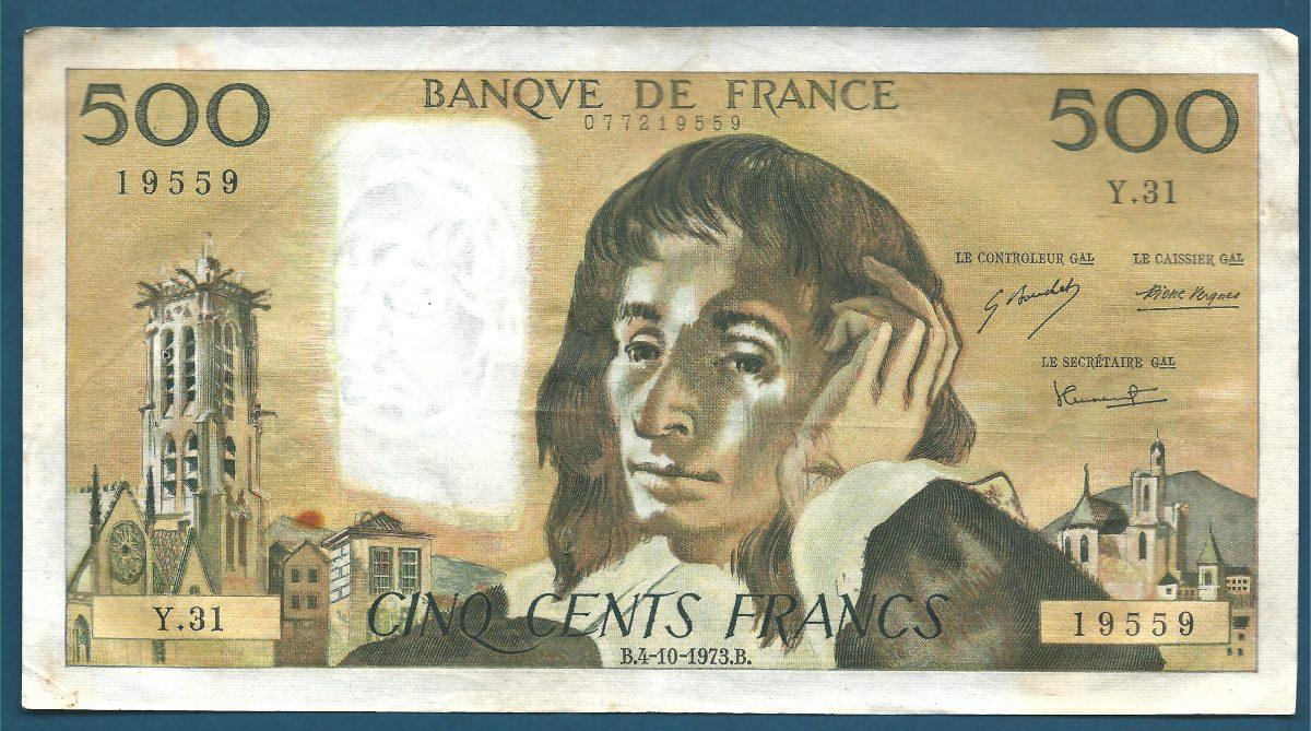 500 francs pascal 4 10 1973