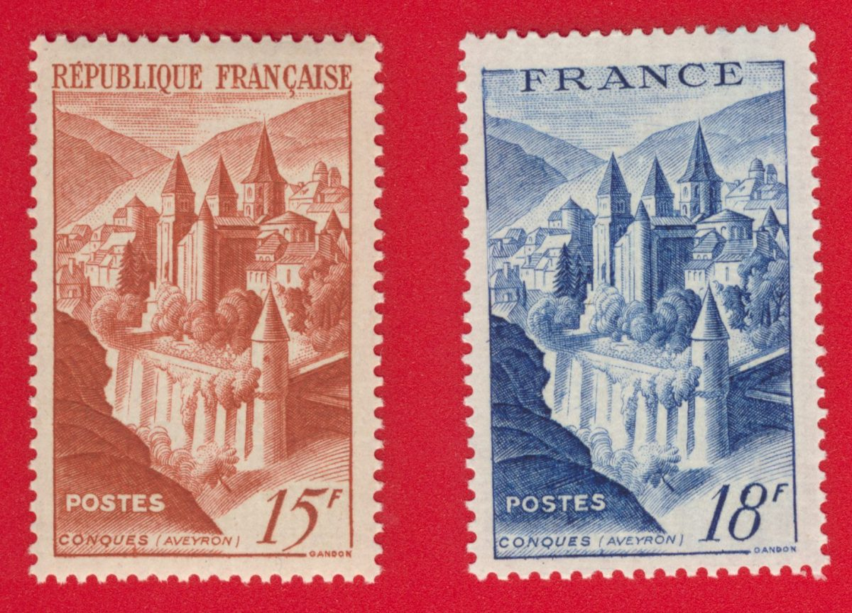 Lot timbres Conques aveyron