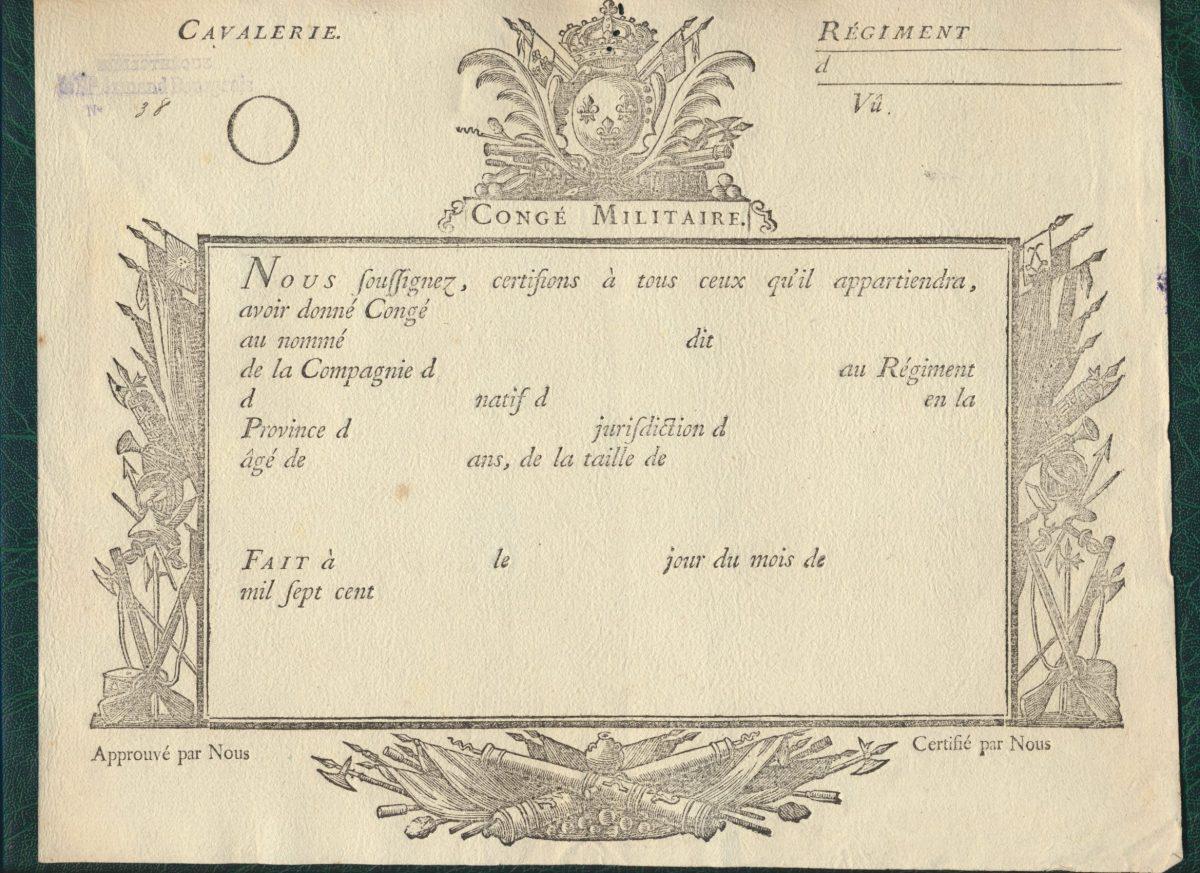 certificat de conge militaire cavalerie mil sept cent