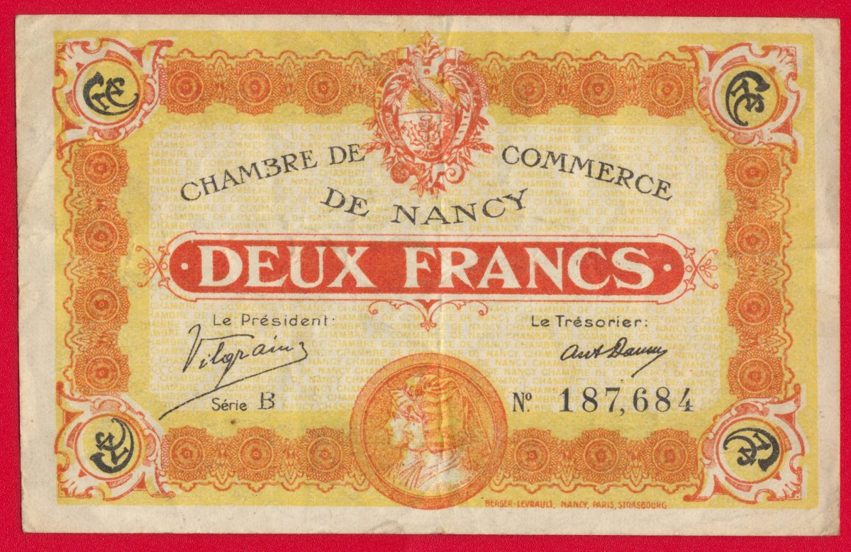 chambre de commerce de nancy 2 francs serie B