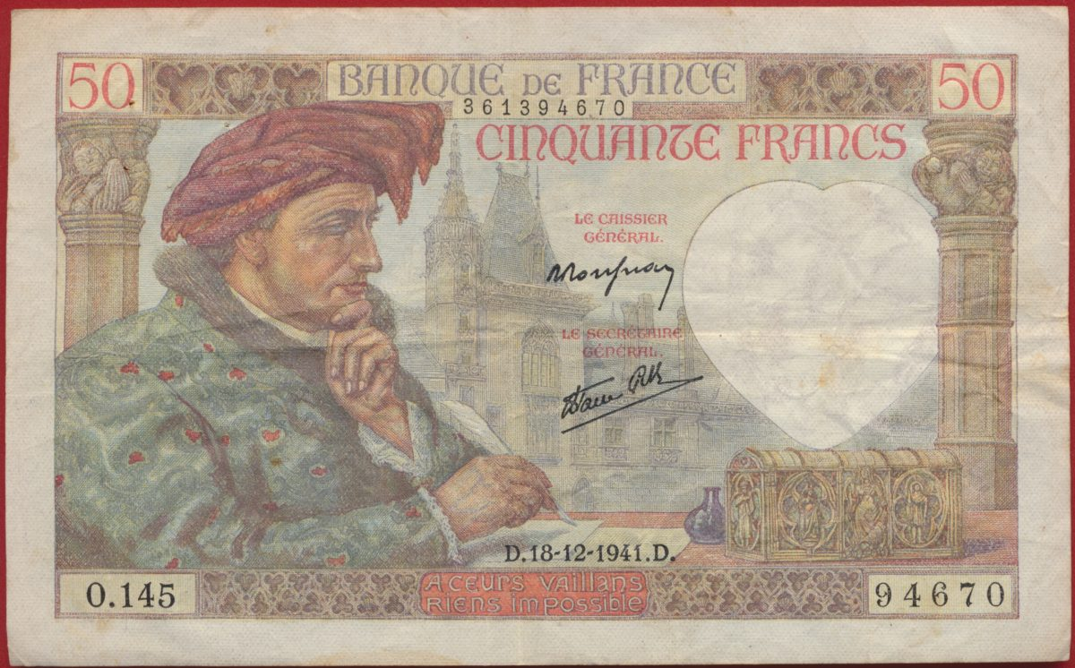 50 francs jacques coeur 18 12 1941 n 94670