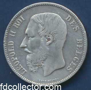 belgique 5 francs leopold II 1868