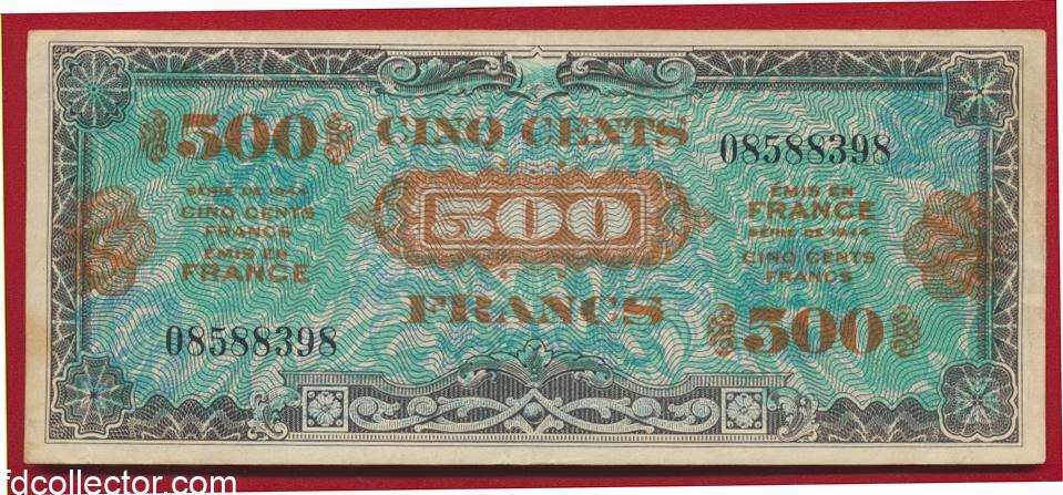 billet de 500 francs impression americaine verso drapeau 1944