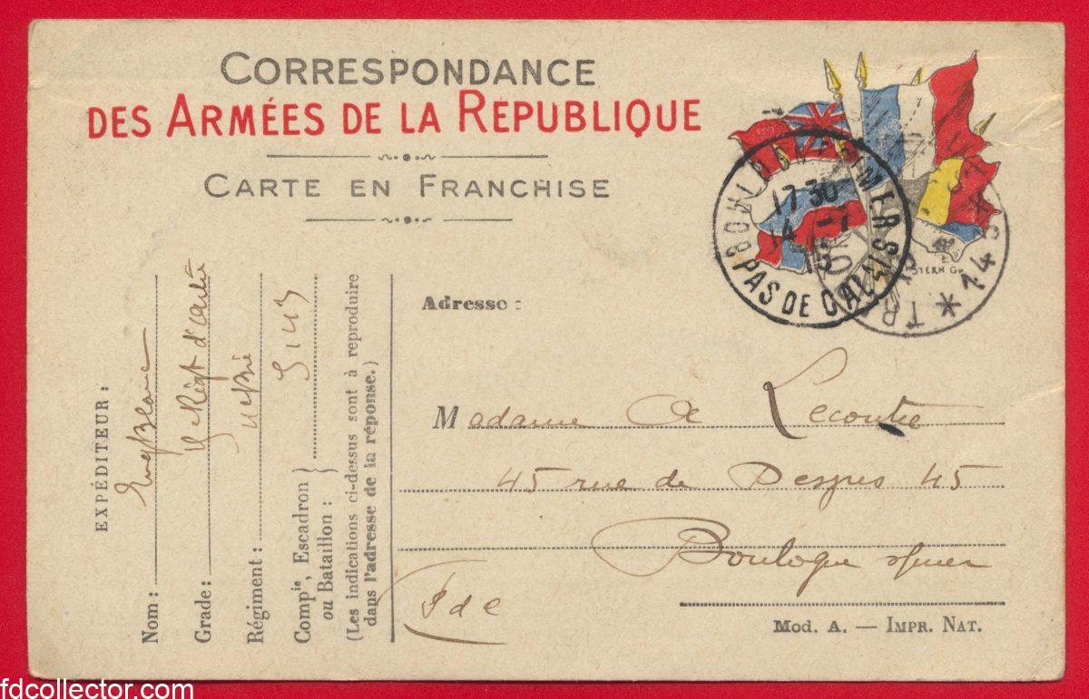 carte correspondance des armees de la republique 1915