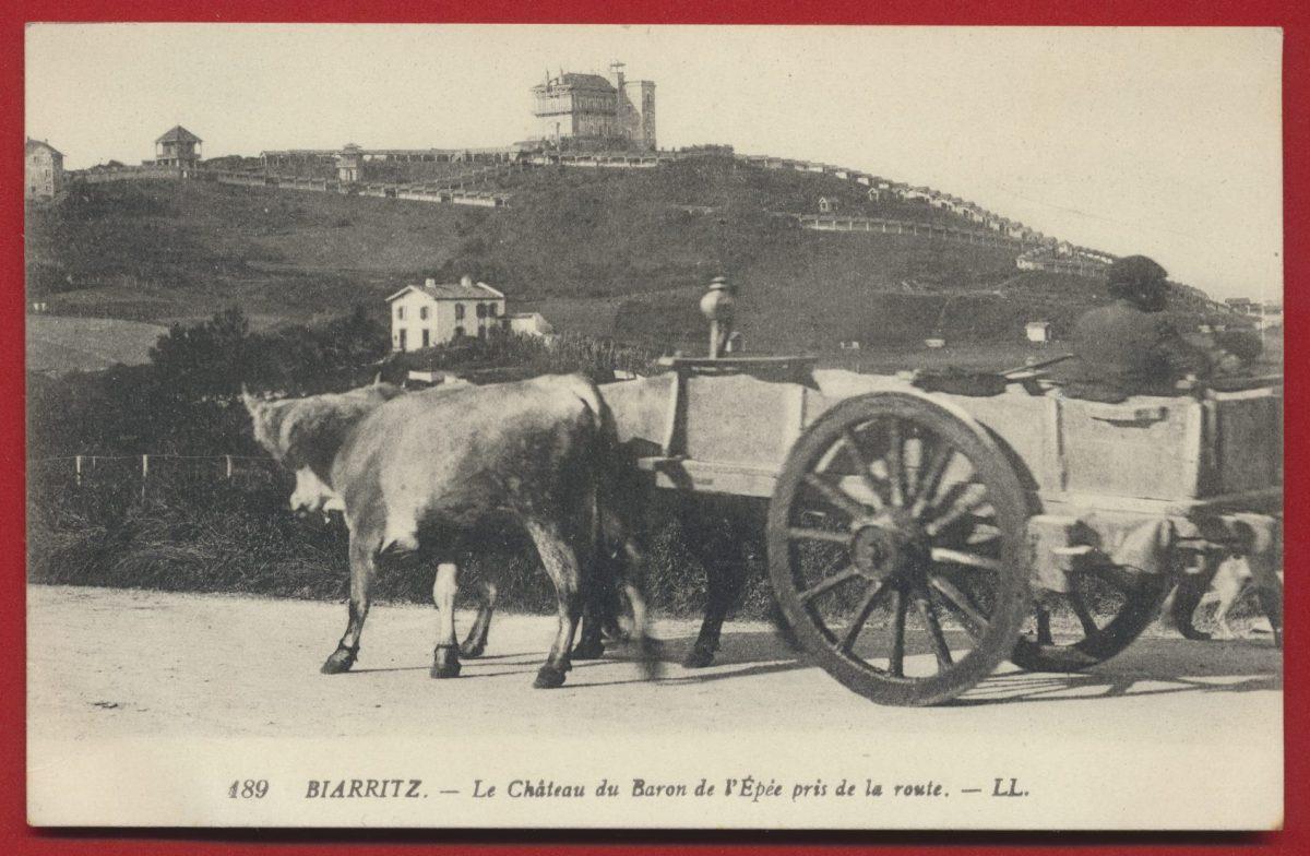 cpa biarritz le chateau du baron de l epee pris de la route attelage