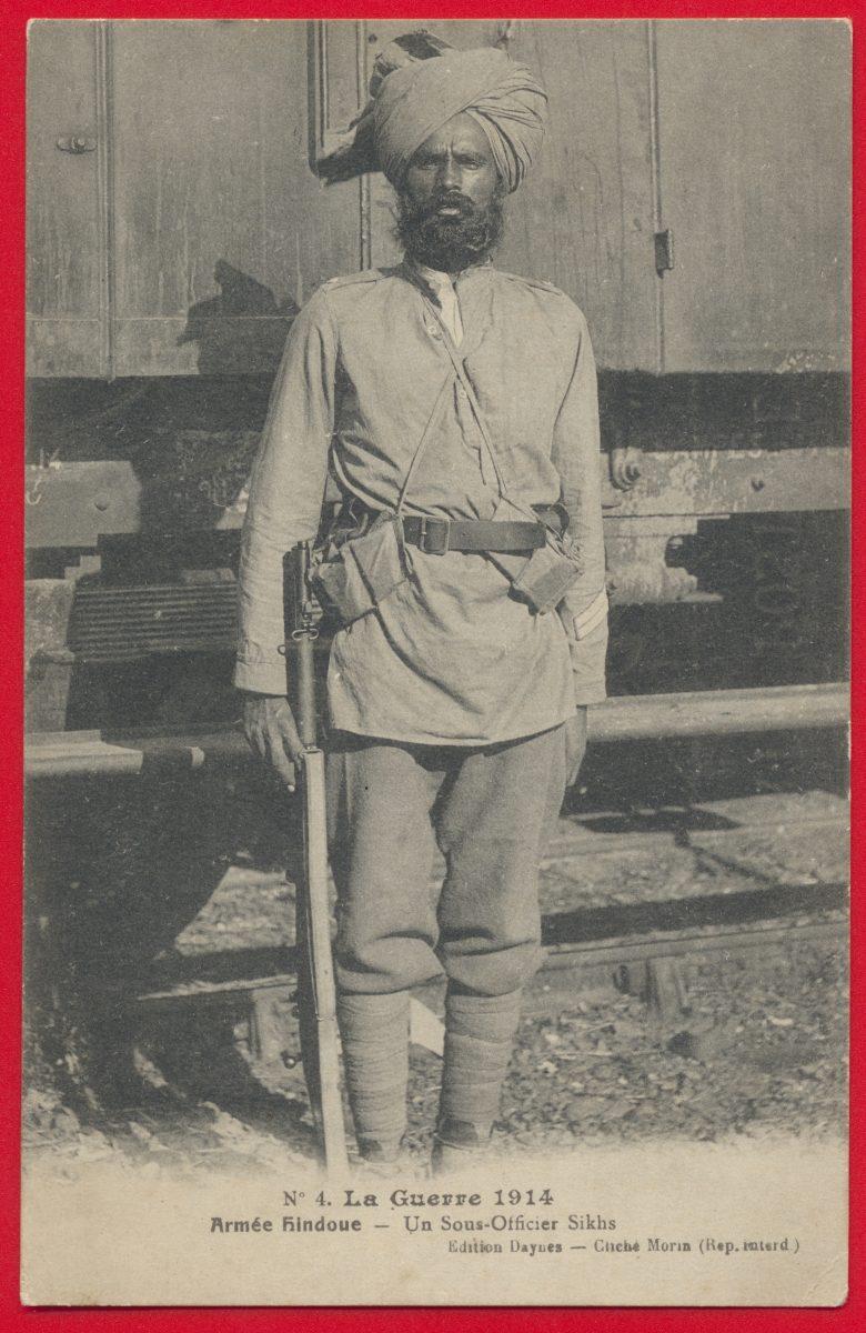 CPA la guerre de 1914 armée hindoue un sous-officier sikhs