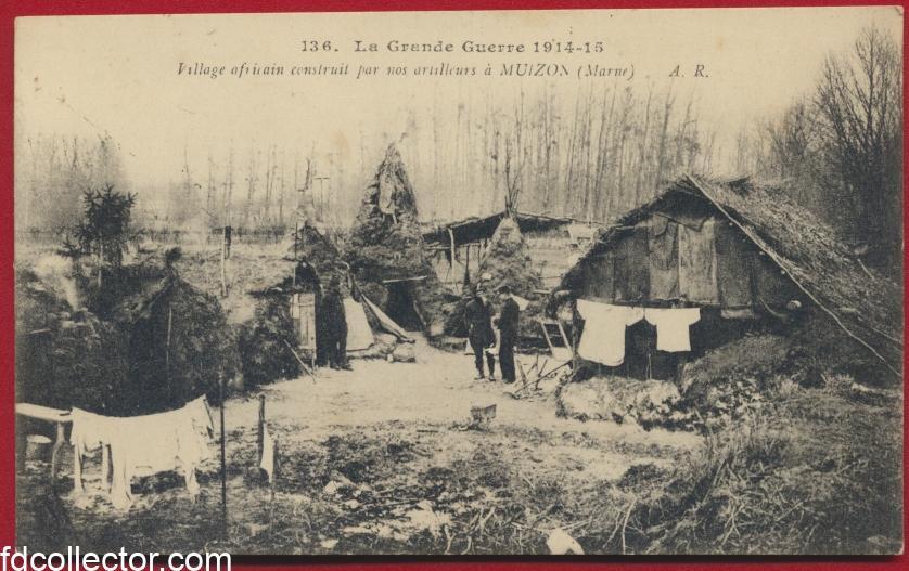 CPA Muizon Marne village africain construit par nos artilleurs grande guerre 14-18