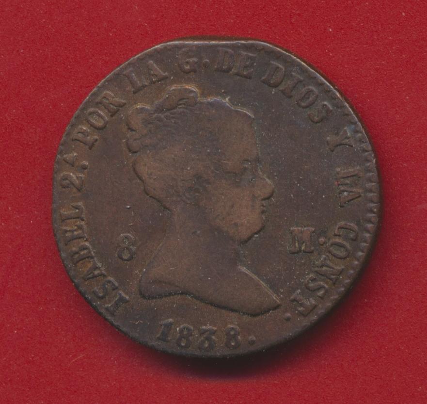 Espagne 8 maravedis 1838 isabel 2