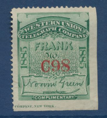 timbre stamp western union telegraph compagny frank 1885