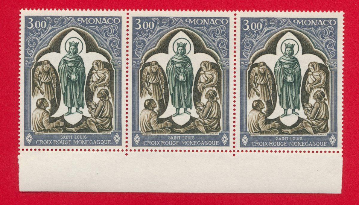 bande 3 x 3 francs monaco croix rouge monegasque saint louis