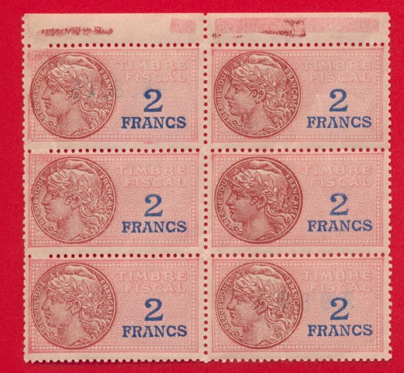 bloc-6-timbres-2-francs-timbre-fiscal-5-8-1946