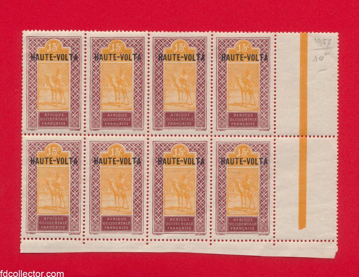 bloc 8 timbres haute-volta 15 centimes