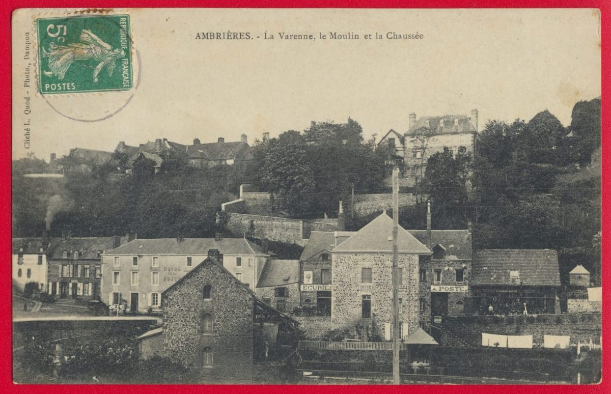 cpa-ambrieres-la-varenne-le-moulin-et-la-chaussee