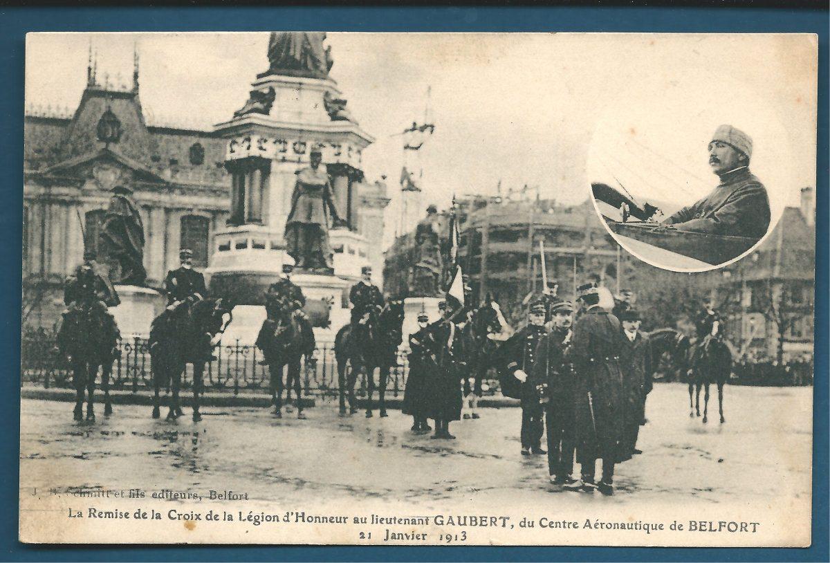 cpa remise de la croix de la legion d honneur au lieutenant gaubert belfort 1913