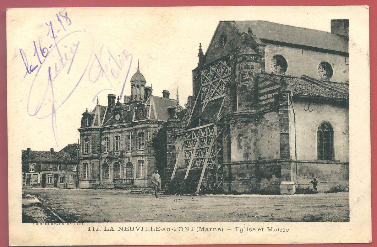 cpa-la-neuville-au-pont-eglise-et-mairie