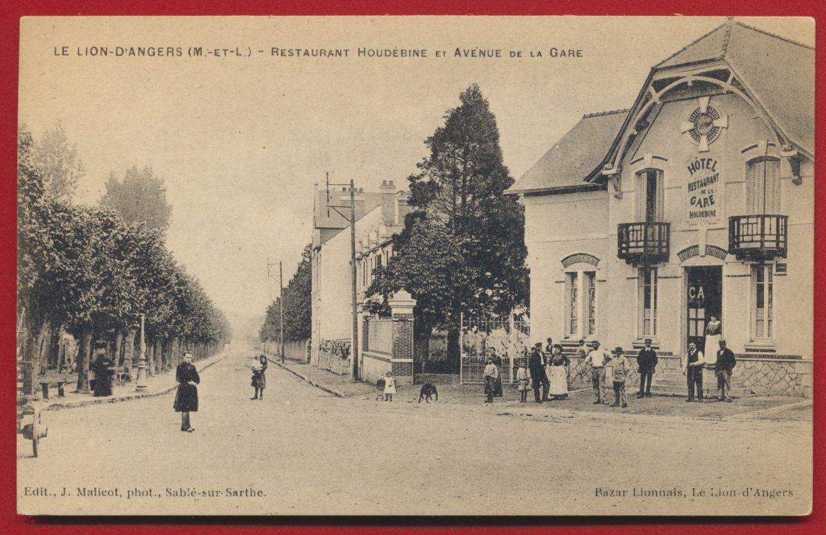 cpa-le-lion-d-angers-restaurant-houdebine-et-avenue-de-la-gare