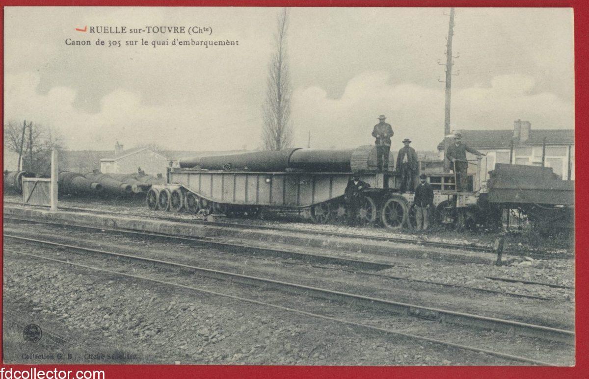 cpa-ruelle-sur-touvre-canon-de-305-quai-embarquement