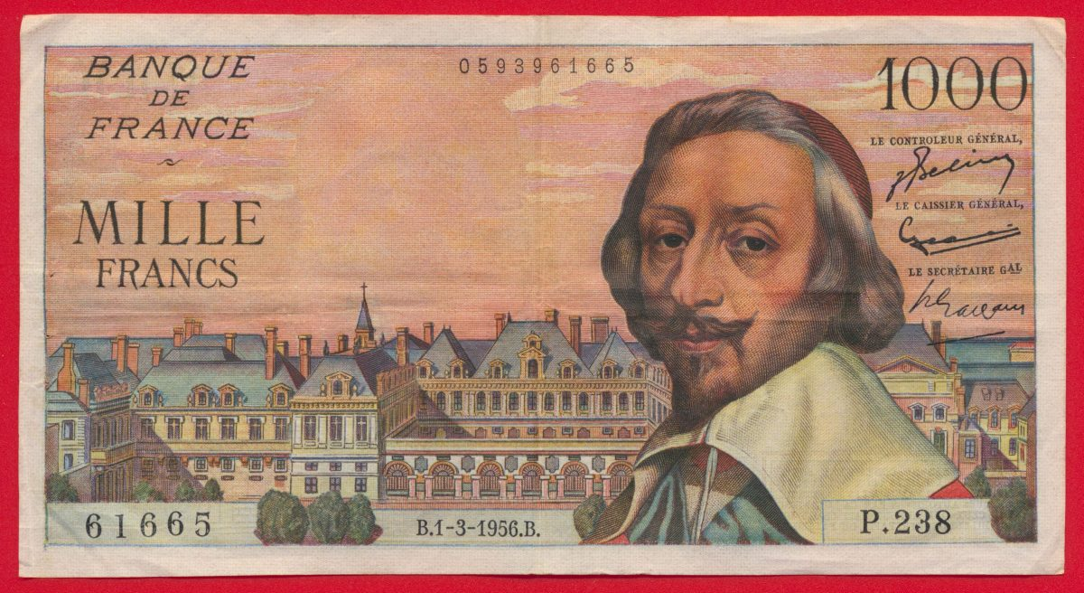 1000-francs-richelieu-type-1953-1-3-1956