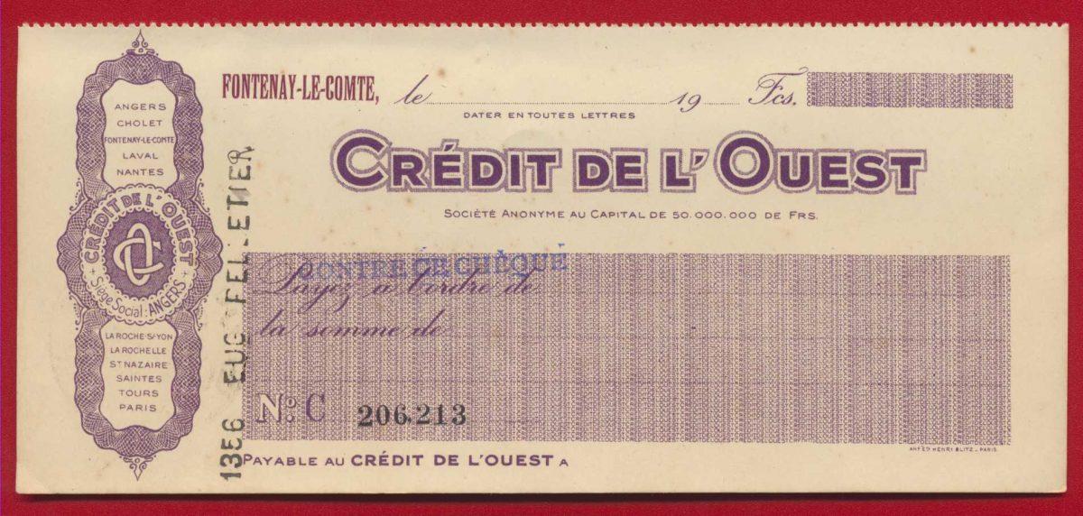cheque-angers-fontenay-le-comte-credit-foncier-de-l-ouest