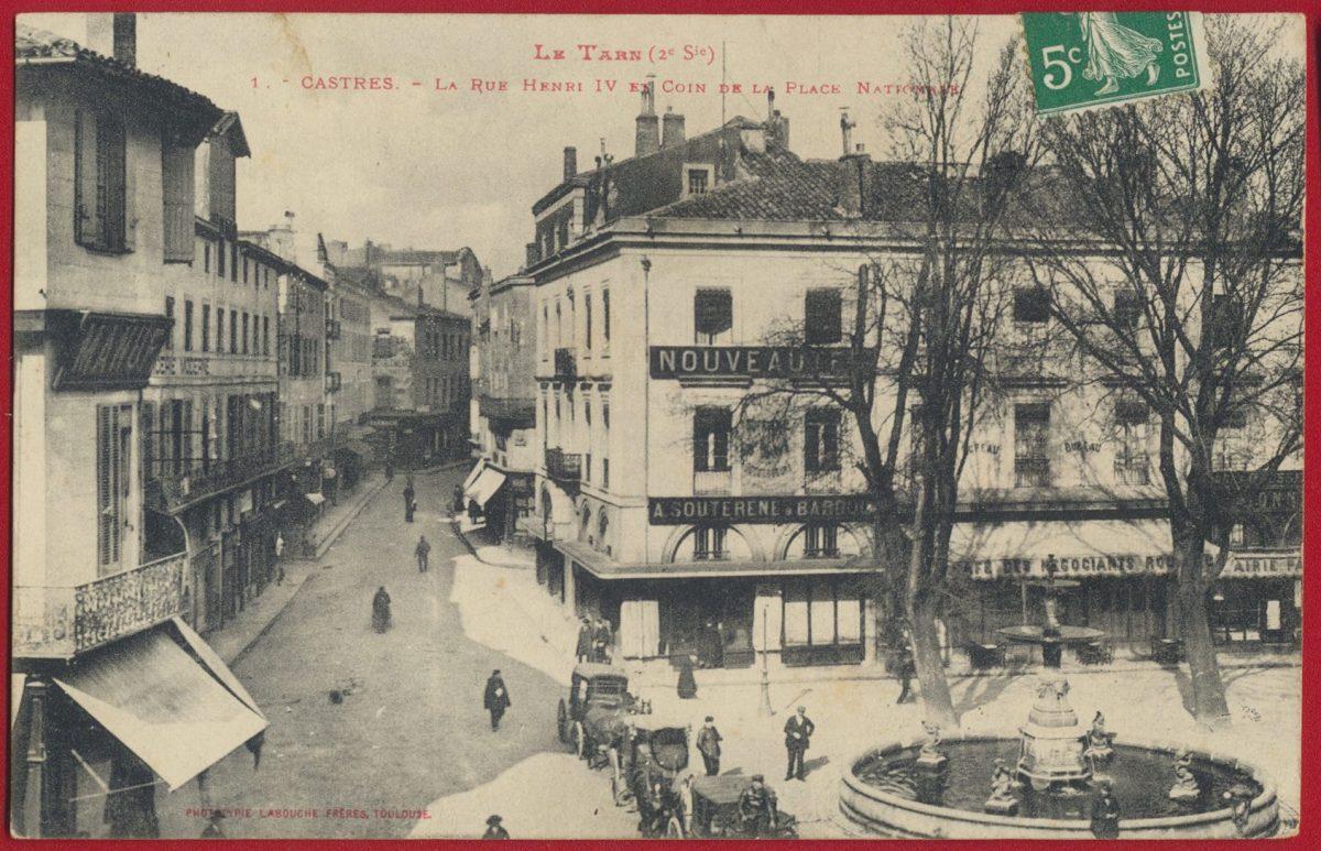 cpa-castres-la-rue-henri-iv-en-coin-de-la-place-nationale