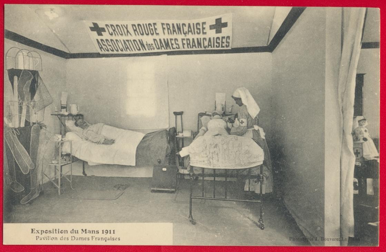 cpa-exposition-du-mans-1911-pavillon-des-dames-francaises-croix-rouge