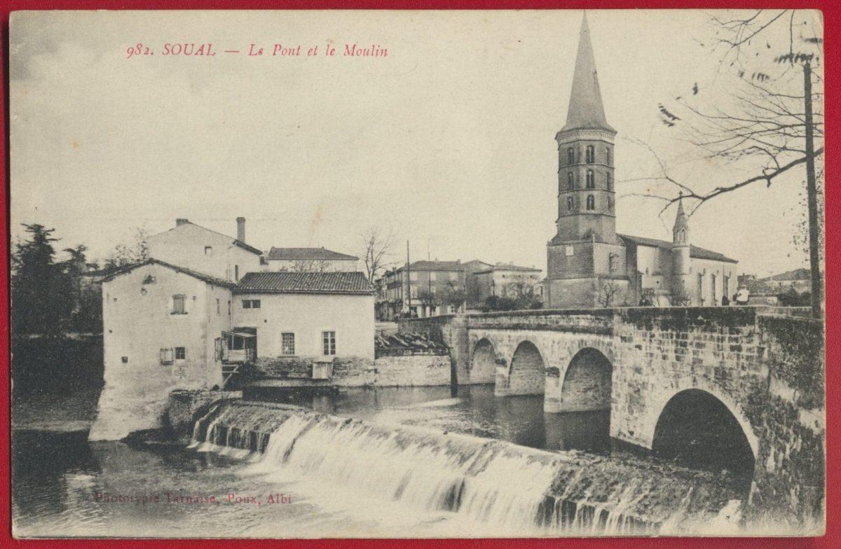 cpa-soual-le-pont-et-le-moulin