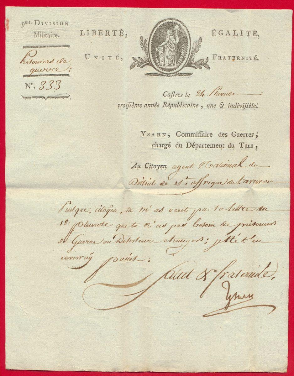 lettre-ancienne-castres-prisonnier-de-guerre-24-pluviose-an-3-9-division-militaire-vs