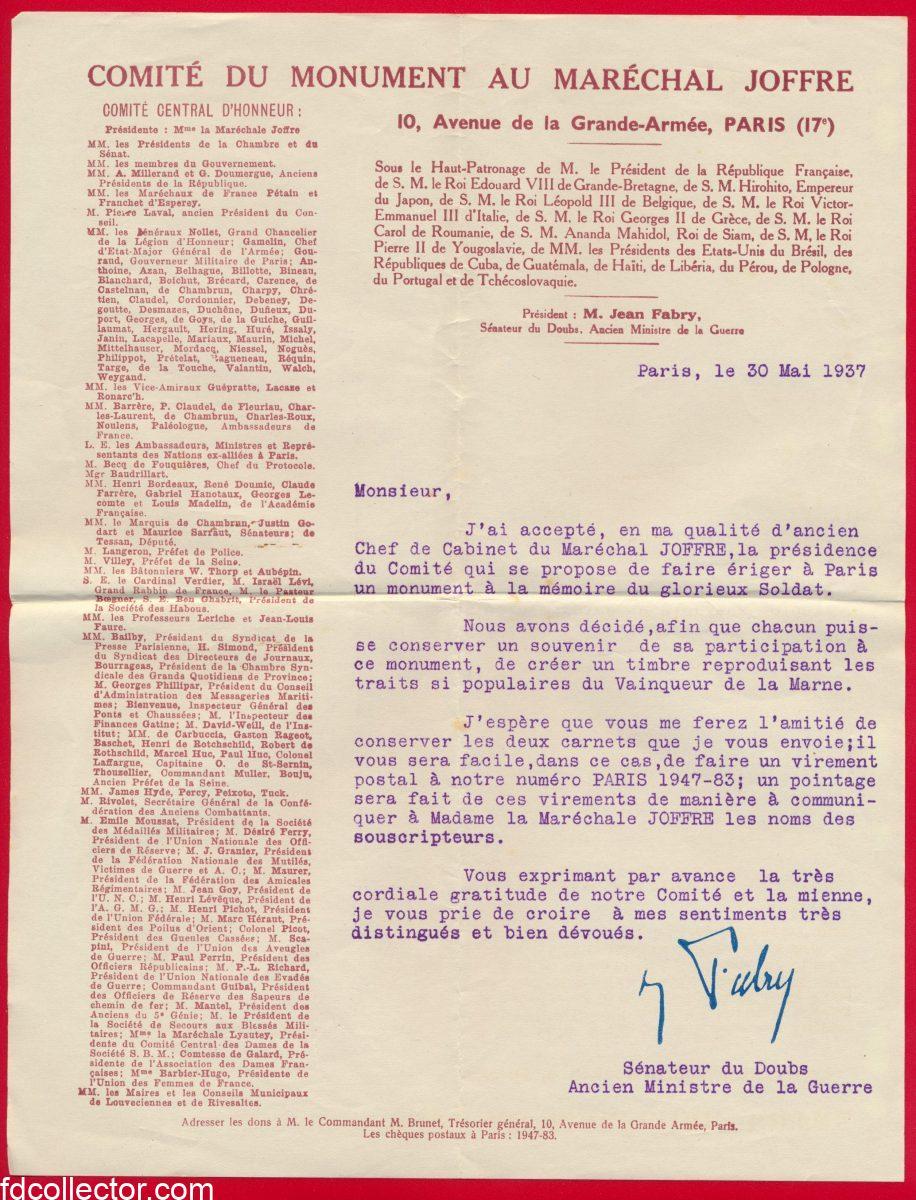 lettre-fabry-comite-du-monument-marechal-joffre
