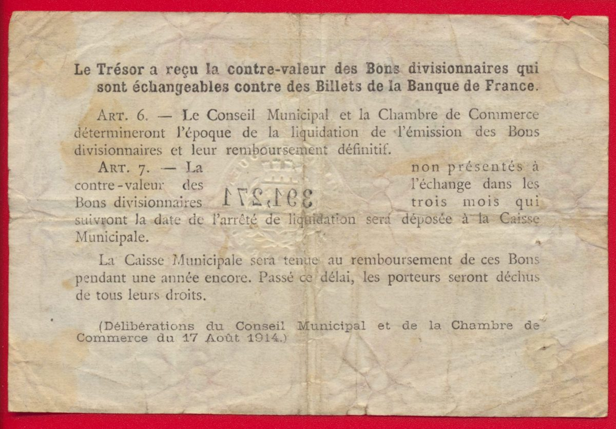 rouen - un franc - chambre de commerce - 1920 - fdcollector