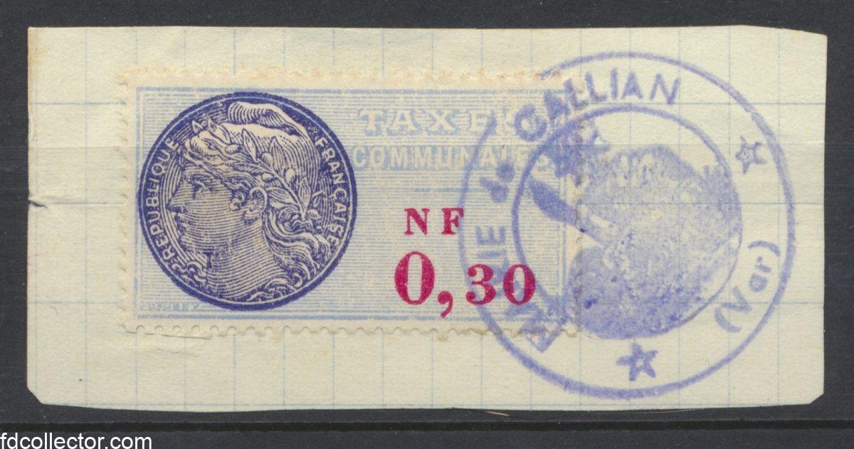 timbre-fiscal-fragment-taxe-communale-nouveaux-francs-mairie-gallian-var