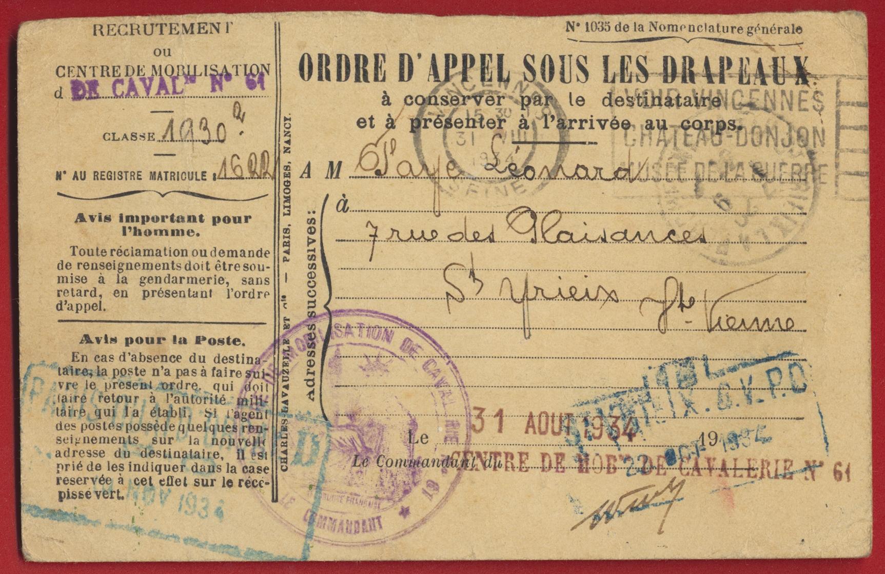 carte-ordre-appel-sous-les-drapeaux-centre-mobilisation-cavalerie-61-1934
