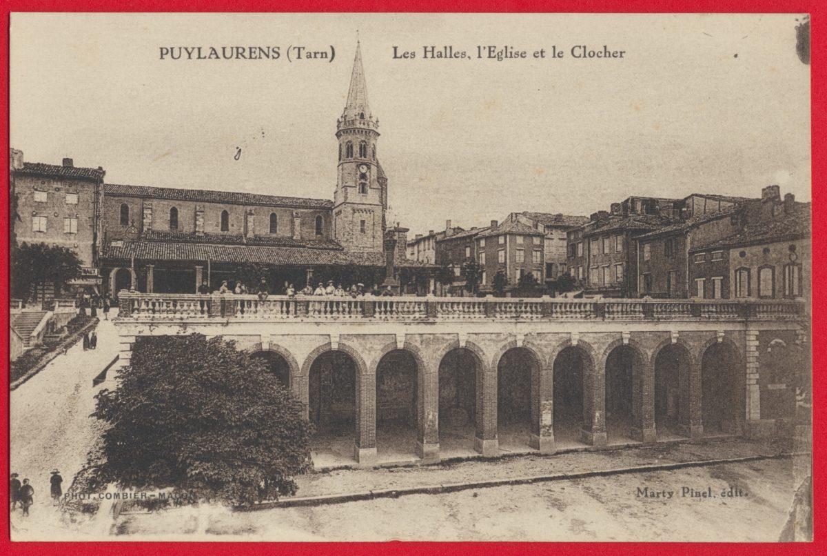 cpa-puylaurens-les-halles-l-eglise-le-clocher